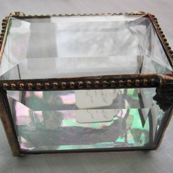Stained Glass Jewelry Box, Keepsake Treasure Box, Rosary Box, Clear Glass, Personalized Engraved lid