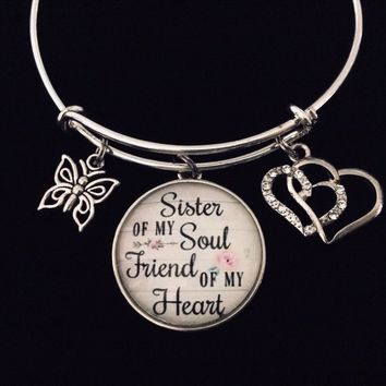 Sister of My Soul Friend of My Heart Expandable Charm Bracelet Silver Adjustable Bangle Best Friend Jewelry BFF Sis Double Heart Butterfly One Size Fits All Gift
