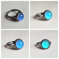 Mood Ring Gun Metal 10 mm adjustable color changing