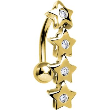 Solid 14KT Yellow Gold TOP MOUNT Cubic Zirconia STAR DROP Belly Ring