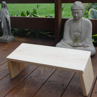 Meditation Bench, Folding Slanted Rounded Legs, Handcrafted Quality, Unique Design, Sturdy