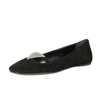 Prada Women's Black Suede Leather Ballet Flats Shoes