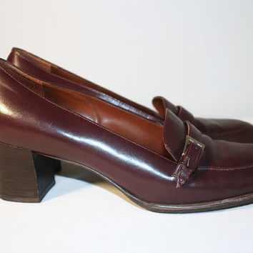 Etienne Aigner Oxblood Stacked Heel Loafer with Buckle 8M