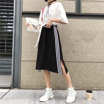 Women's Skirts Ladies Kawaii Loose Stitching Bf Style A Skirt Split Fork Female Korean Harajuku Clothing For Women High Waist