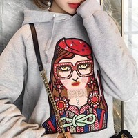 """Gucci"" Casual Fashion Cartoon Glasses Girl Pattern Embroidery Hooded Long Sleeve Sweater Tops Women Hoodie"
