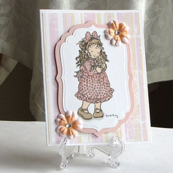 Sarah Kay card, little girl holding dog, peach pink stripes, distressed, custom, hand colored, handmade, greeting card,