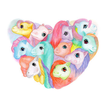My LITTLE PONY heart watercolor illustration // 80's print // girl room decor