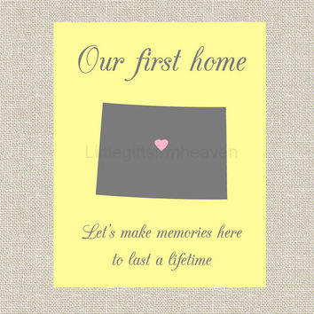 First Home State Print- first home custom, housewarming gift, moving gift home, first house canvas, goodbye gift house, new house wall art