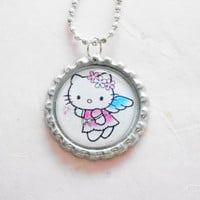 Angel princess necklace - necklace for girls, hello kitty necklace, bottle cap necklace , gift for girl , toddler , kids,children,ball chain