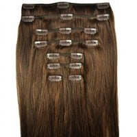 Feibin Clip In Hair Extensions Synthetic Hair 22inches 55 cm Long Straight Hairpiece 8pcs Heat Resistant c47