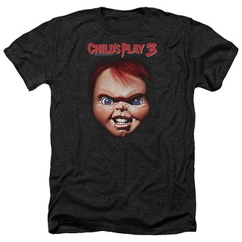 Childs Play Heather T-Shirt Chucky Close Up Black Tee