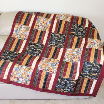 Cardinals and Cats Reversible Throw Quilt - EXTRA WARM - Birds in Red + Green one side - Cats in Red, Cream + Black on Reverse