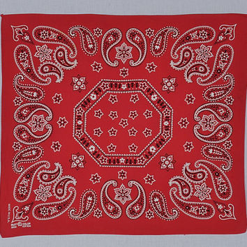 Vintage 60s Elephant Trunk Up Red Fast Color Bandana 1960s Rockabilly Work Wear Handkerchief Cotton Western Hillbilly Scarf