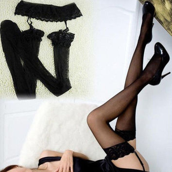Sexy Womens Lace Top Thigh High Tights Socks Stockings + Lace Skirt Garter Belt New = 5987764737