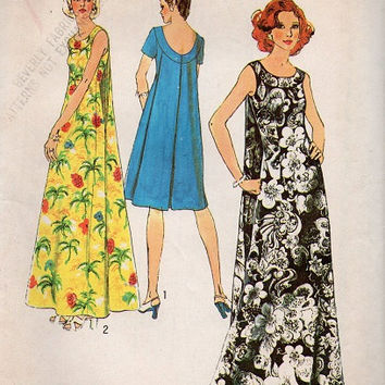 Retro Fashion Formal Gown Cocktail Dress 70s Simplicity Sewing Pattern Muu Muu Back Drape Plus Size Uncut FF Bust 40