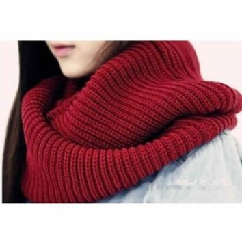 New Arrive Men Women's Nice Winter Warm Infinity 2Circle Cable Knit Cowl Neck Long Scarf Shawl F05