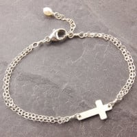 Cross Bracelet, baby cross bracelet, religious jewelry, cross jewelry, sterling silver, sterling bracelet, holiday sale, N14