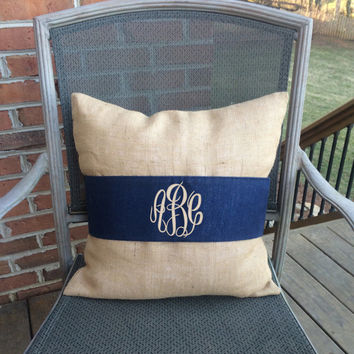 Monogram Natural Burlap Pillow Cover with Navy Pillow Wrap  Font shown MASTER CIRCLE in khaki