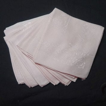 Set of 8 Vintage 1960s Pink Linen Damask Dinner Napkins, 2 Patterns, 13.5 Inches Square, Rose & Floral Pattern, Vintage Table Linens