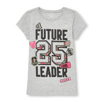 Girls Short Sleeve 'Future Leader' Patch Graphic Tee | The Children's Place