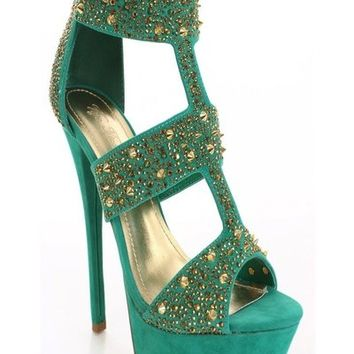 Vigo Fiore Paulette 87 Strappy Cage Rhinestone Shoes. Sea Green & Gold | shoes heels high heel shoes trendy shoes stilettos