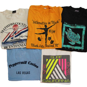 5 Vintage T-shirts Size Small Distressed 80's & 90's Shirts