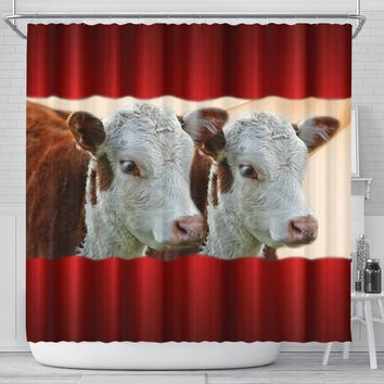 Hereford Cattle (Cow) Print Shower Curtain-Free Shipping