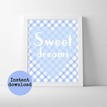 Printable blue and white checked nursery art instant download 8x10 inch. Blue and white heart, sweet dreams typography poster printable.