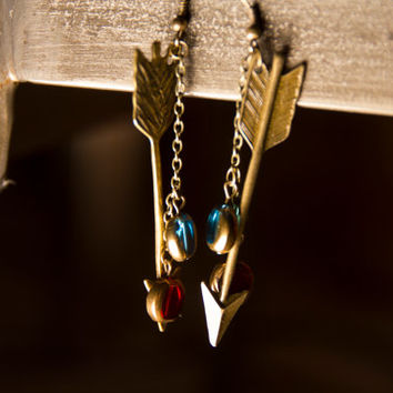 Arrow dangle earrings with aqua and red glass beads