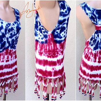 4th Of July Tank Top, Independence Day, Tie Dye Stars Stripes, American Flag, Red White Blue, Beach Bikini Cover, Sleeveless, Beaded, Fringe