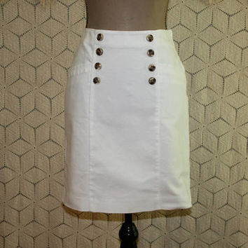 White Skirt Pencil Skirt Cotton Skirt Day Skirt Sailor Buttons Womens Skirts Medium Banana Republic Size 10 Skirt Womens Clothing