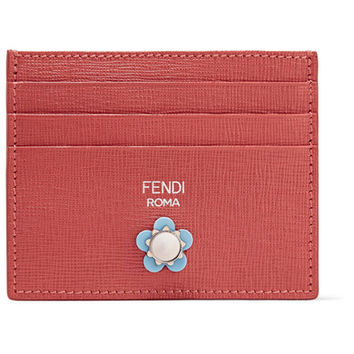 Fendi - Embellished textured-leather cardholder