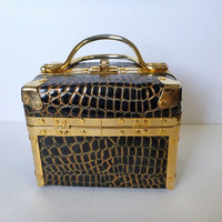 Faux Crocodile skin Box handbag. Train handbag. retro box purse