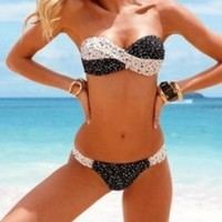 Fashion Black With White Dot Ornamental Gather Bikini | best shopping mall-fashion accessories and fashion clothing