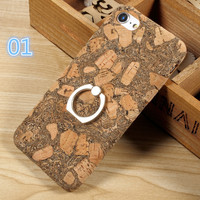 iPhone 7 Case Ring Holder Kickstand Natural Wood Coated PC Hard Case for Apple I7 iPhone 7 4.7 inch Cover Capa Coque -0327