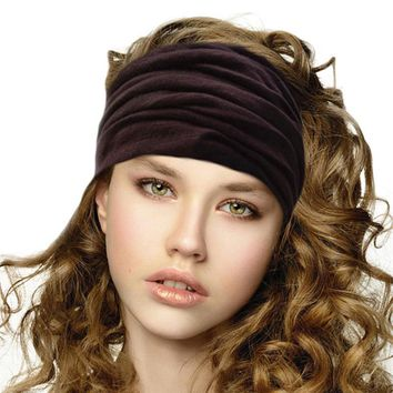 Elastic Wide Turban Headbands for Women Cotton Bandana Headband Head Wrap Hairband Headwear Fascinator Girl Hair Accessories