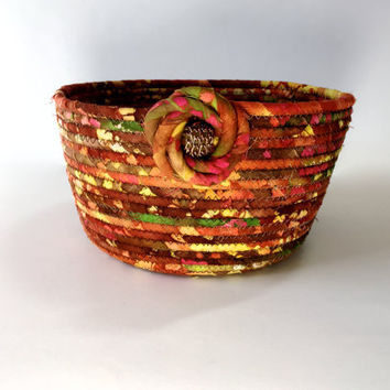 Clothesline Rope Basket  Hand Coiled Fabric Bowl  Halloween Thanksgiving Decor Sally Manke FIber Art  Large Vibrant Colors Christmas Decor