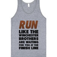 Run Like the Winchester Brothers are Waiting-Athletic Grey Tank
