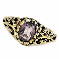 Purple Filigree Ring Vintage 14kt HGE Womens Size 7 Openwork r194