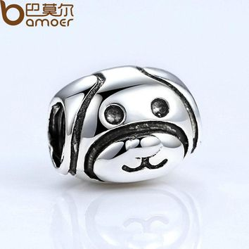 Silver Color Lovely Dog Pattern European Animal Charms for Bead Bracelet Necklace DIY Accessories PA5293