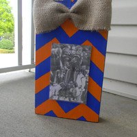 Recycled Chunky 4x6 Wood Paint Picture Frame Orange and Blue Striped with Burlap Bow Auburn