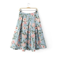 Summer Bohemia Women's Fashion High Rise Pink Floral Print Skirt [4920258884]