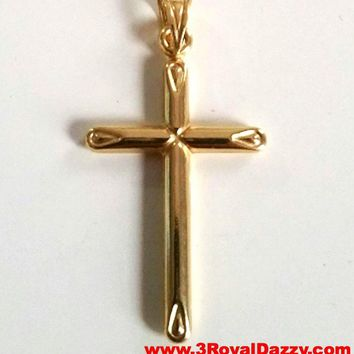 Italian Christian Cross 14k yellow gold layer over .925 Sterling Silver Pendant Charm
