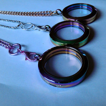 Rainbow Finish Floating Locket with choice of chain /30 mm Round Glass Memory Locket in Rainbow Finish ~  Locket Necklace
