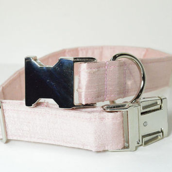 Designer Wedding Dog Collar - Pale Pink Silk With Metal Hardware - Wedding dog collar, pink, designer dog collar, matching leash
