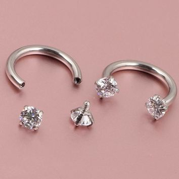 16G Zircon Gem Round Tragus Lip Ring Ear Cartilage Stud Earring Body Piercing Internally Silver Septum Hoop Nose