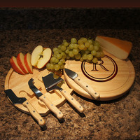 "Personalization Cheese Cutting Board and Tool Set with Monogram Designs Options and Font Selection (Each - 10"" Diameter)"