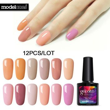 Pumpkin Color UV Nail Gel Polish Kits Soak Off Led Nail Gel Primer Long Lasting UV Nail Gel Varnish Set