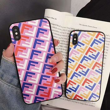 FENDI Full F Letter Mobile Phone Cover Case For iphone 6 6s 6plus 6s-plus 7 7plus 8 8plus X XsMax XR