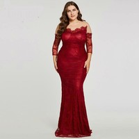 Scoop long evening dress full sleeves floor length sweep train gown women formal mermaid evening dresses